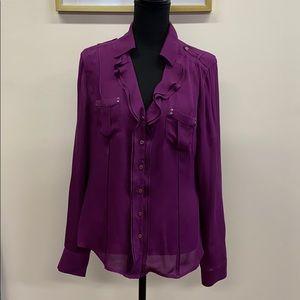 White House Black Market Purple Silk Blouse